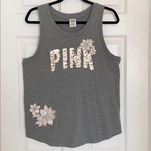 Victoria's Secret PINK Sequin Floral Grey Tank Top
